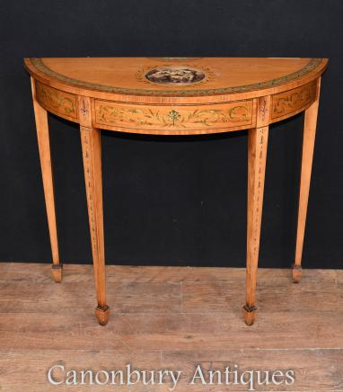 Satinwood Console Table - Adams Demi Lune Painted Hall Tables