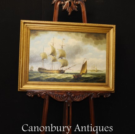 Seascape Oil Painting - British Galleon in the English Channel Ship