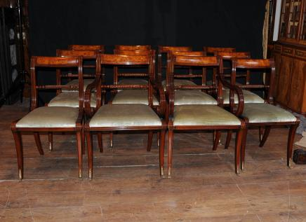 Set Regency Dining Chairs - 12 English Rope Back