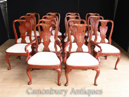 Chinese Dining Chairs - Red Lacquer Set 12 Chinoiserie