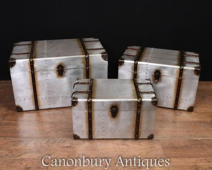 Set 3 Aviator Luggage Boxes Side Coffee Tables