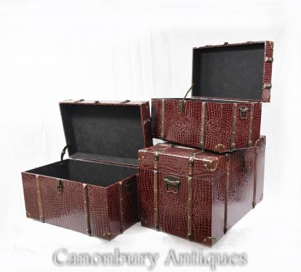 Set 3 Faux Snakeskin Luggage Boxes Cases Steamer Trunk Tables
