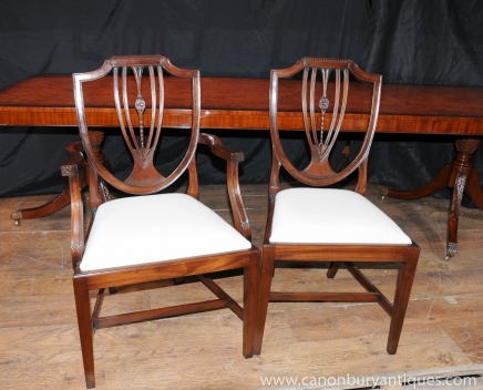 Set 8 Regency Shield Back Dining Chairs Mahogany Diners Chair Furniture
