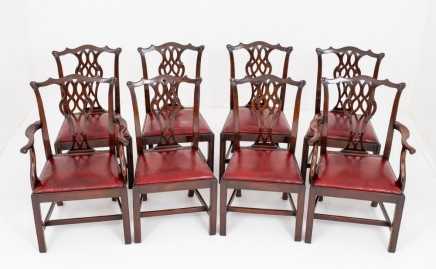 Set Antique Chippendale Dining Chairs Mahogany