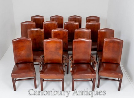 Set Antique Dining Chairs - Leather Boardroom Circa 1920