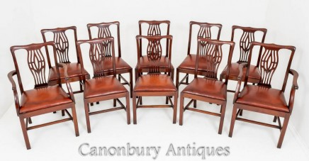 Set Chippendale Dining Chairs Mahogany