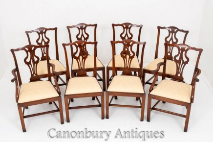 Set Mahogany Chippendale Dining Chairs Antique