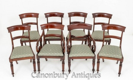 Set Mahogany Dining Chairs - Harlequine Antique Diners