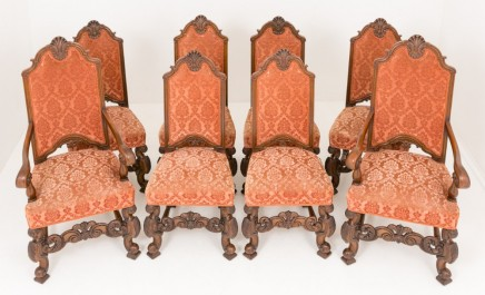 Set Oak Dining Chairs - Carolean Carved Farmhouse Antiques 1870