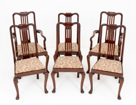 Set Queen Anne Dining Chairs in Mahogany