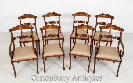 Set Regency Dining Chairs - Antique Rosewood Brass Inlay
