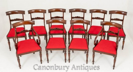 Set Regency Dining Chairs Antique Mahogany