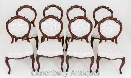 Set Victorian Dining Chairs - Mahogany 8 Chair 1860