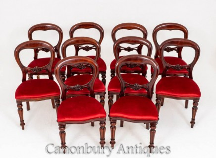 Set Victorian Dining Chairs Balloon Back Antique