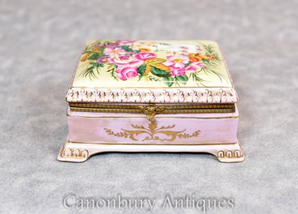 Sevres Porcelain Jewellery Box - French China Trinket Case