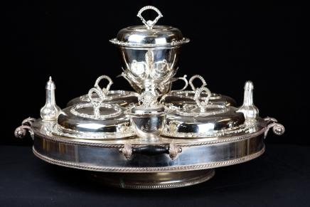 Sheffield Silver Plate Lazy Susan Dinner Service Dumb Waiter
