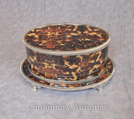 Sheffield Silver Plate Oval Box Jewellery Case Faux Tortoiseshell