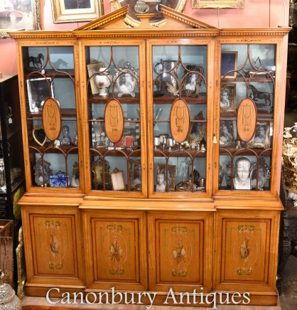 Sheraton Painted Satinwood Breakfront Bookcase Cabinet Regency
