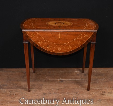 Sheraton Pembroke Table Mahogany Drop Leaf Tables