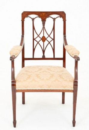 Sheraton Revival Arm Chair - Mahogany Open Elbow Chairs
