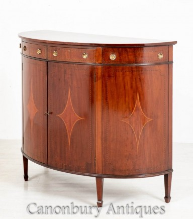 Sheraton Revival Cabinet - Antique Demi Lune Chest 1890