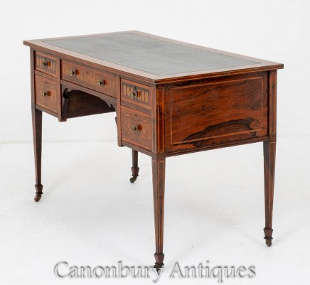 Sheraton Revival Desk - Antique Rosewood Inlaid Writing Table