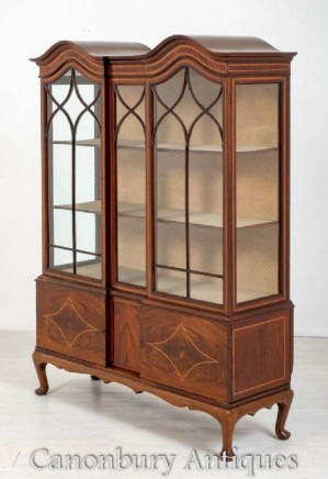 Sheraton Revival Display Cabinet Bookcase - Antique Inlay
