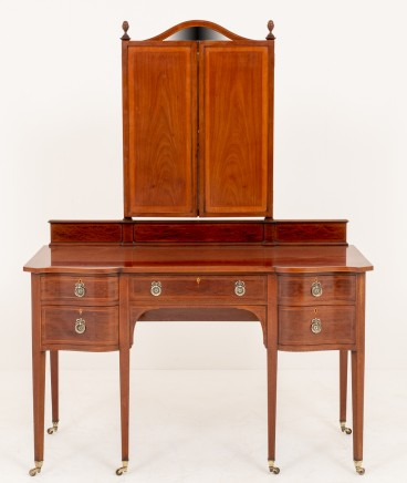 Sheraton Revival Dressing Table Mirror Set 1880