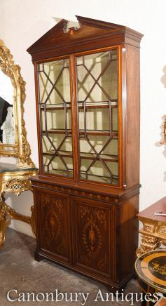 Sheraton Revival Mahogany Bookcase Display Cabinet
