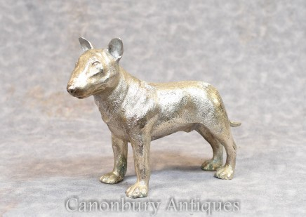 Silver Bronze English Bull Terrier Dog Statue