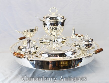 Silver Plate Lazy Susan Hot Food Server - Bain Marie Plated