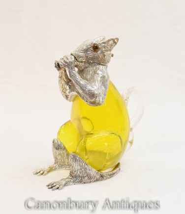 Silver Plate Squirrel Decanter - Glass Jug