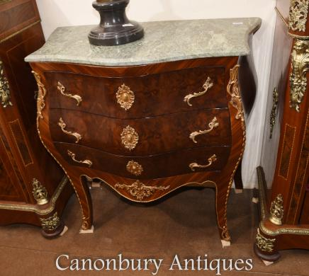 Single Bombe Commode Chest of Drawers French Empire