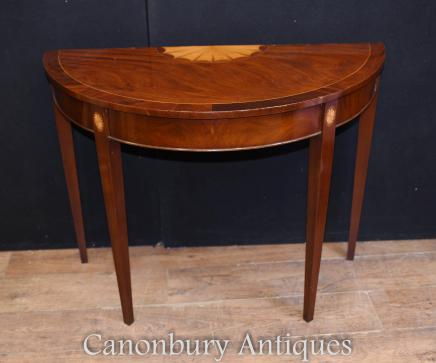 Single Hepplewhite Console Table Mahogany Hall Tables