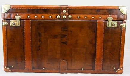 Steamer Trunk Chest Leather Luggage Case Coffee Table