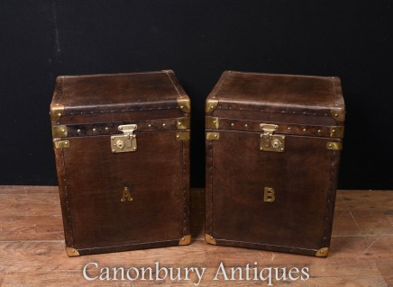 Steamer Trunk Luggage Boxes - Pair Leather Side Tables