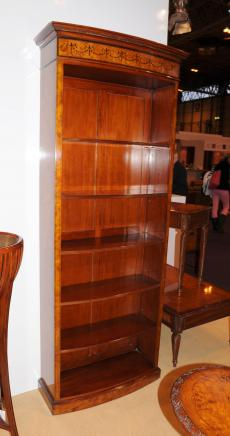 Tall Regency Sheraton Open Bookcase Burl Walnut Bookcases