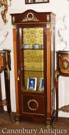 Tall French Empire Vitrine Display Cabinet Bijouterie