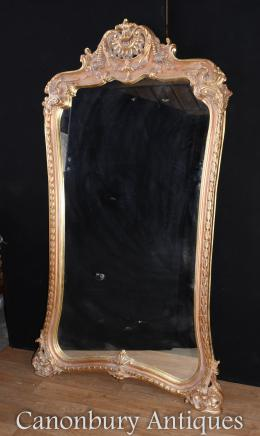 Tall French Louis XVI Gilt Pier Mirror Glass Mirrors
