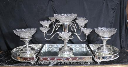 Victorian Surtout de Table Centre Piece -  Silver Plate Epergne Glass Dish Dinner Set