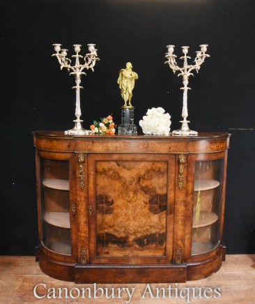 Victorian Antique Credenza Cabinet Bow End 1860