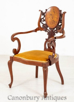 Victorian Arm Chair - Inlaid Accent Antique 1890