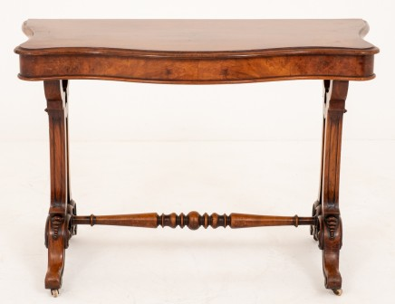 Victorian Console Burr Walnut Table Circa 1860