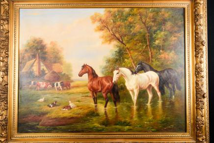 Victorian English Oil Painting Horses Landscape Manner Constable
