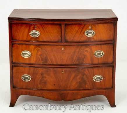 Victorian Mahogany Chest Drawers Bow Front Circa 1860