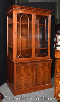 Victorian Mahogany Display Cabinet - Glass Bookcase
