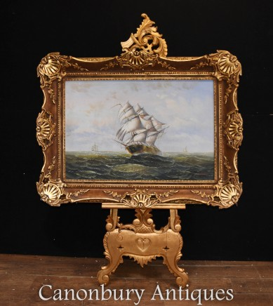 Victorian Maritime Sea Scape Oil Painting Galleon Rough Seas