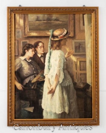 Victorian Oil Painting Artists Studio Female Portrait