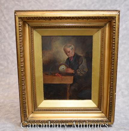 Victorian Oil Painting Clock Maker Horologist Portrait