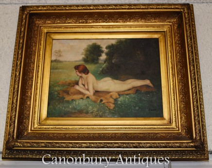 Victorian Oil Painting Nude Female Portrait - Signed